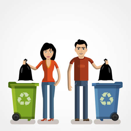 Garbage can, waste bin, trash container infographic. Keep clean or do not litter, concept. Cartoon flat vector illustration 일러스트