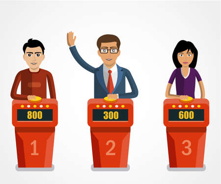 Quiz show, game modern concept. Players answering questions standing at stand with buttons. Vector flat illustration