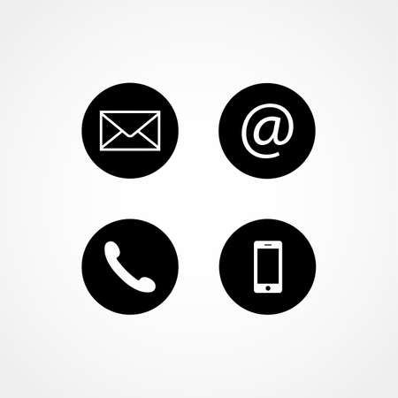 Contact icons. Flat design style.