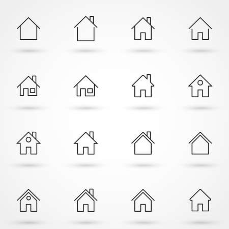 Simple collection of home related line icons. Thin line vector set of signs for infographic, logo, app development and website design. Premium symbols isolated on a white background. Illusztráció