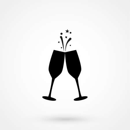 champagne glasses silhouettes isolated icon. Can be used as web element, playing design icon on white background Illustration
