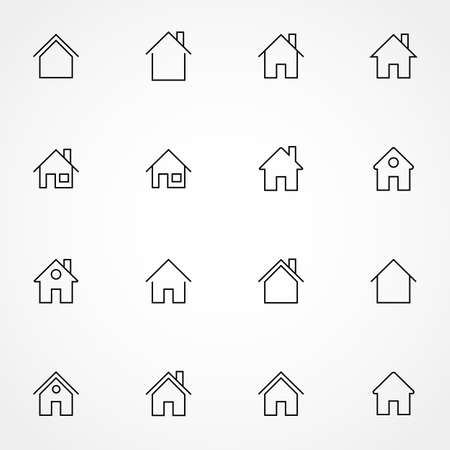 Simple collection of home related line icons. Thin line vector set of signs for infographic, logo, app development and website design. Premium symbols isolated on a white background. Illustration