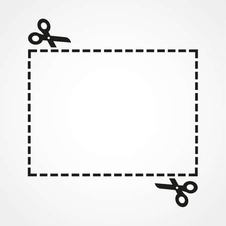 Illustration of a cut out coupon rectangle shape with scissors vector Иллюстрация
