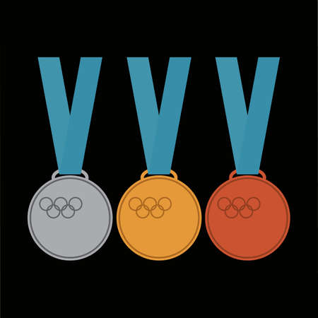 Gold, silver and bronze medal icon. Medal vector set isolated on black background. Illustration