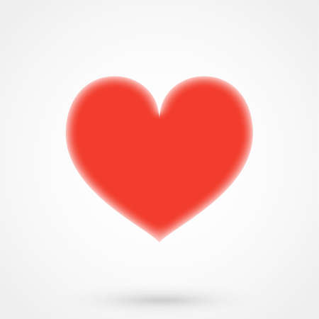 Icon red heart in a flat style on gray background Illustration