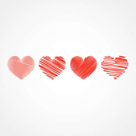 Collection of hand drawn sketch red hearts. Decor element template for Holiday Valentine's day design, invitation, greeting card, party, birthday, wedding vector illustration.