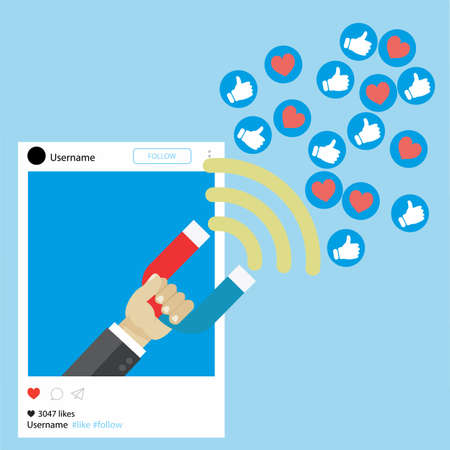 Il potente del marketing degli influencer è come il campo magnetico che trascina il cliente come icona nel business Vettoriali