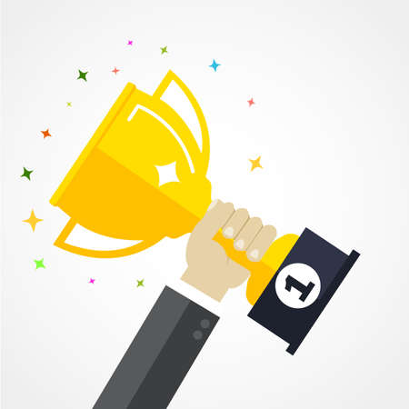 Business goal achievement vector concept, flat style happy successful businessman holding golden cup award in hand, leadership idea, first place prize victory, competition winner Illustration