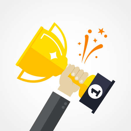 Business goal achievement vector concept, flat style happy successful businessman holding golden cup award in hand, leadership idea, first place prize victory, competition winner Illusztráció