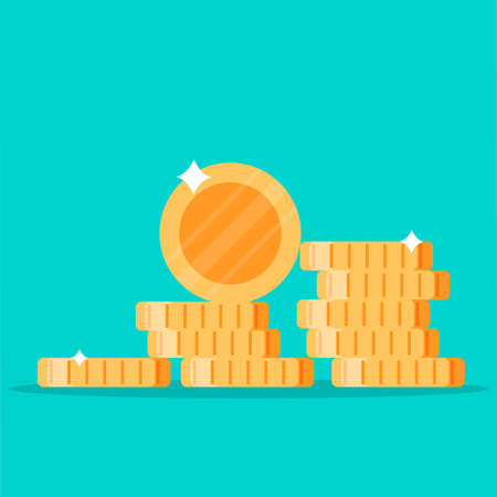 Coins stack vector illustration, flat coin money stacked icon flat, golden penny cash pile, treasure heap isolated on color background Иллюстрация