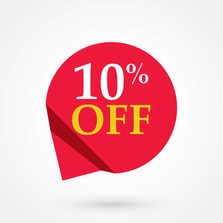 Red sale label 10 percent off illustration flat vector icon