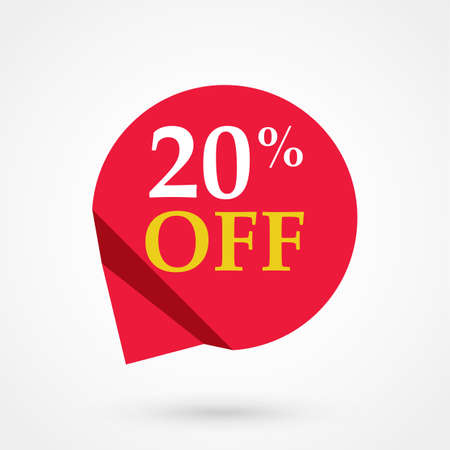 Red sale label 20 percent off illustration flat vector icon