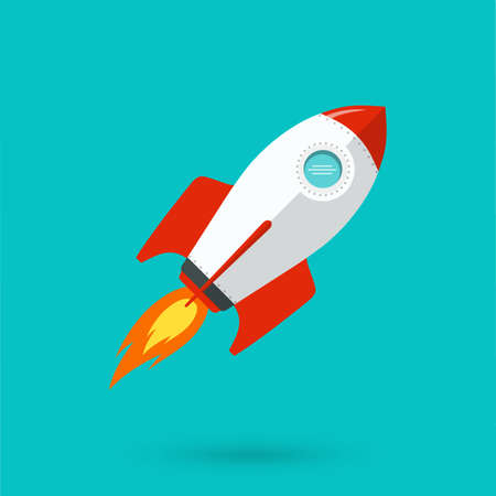 Rocket ship vector illustration. Space ship icon in flat style.