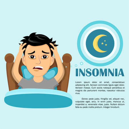 Insomnia infographic. Vector flat art style illustration character 일러스트