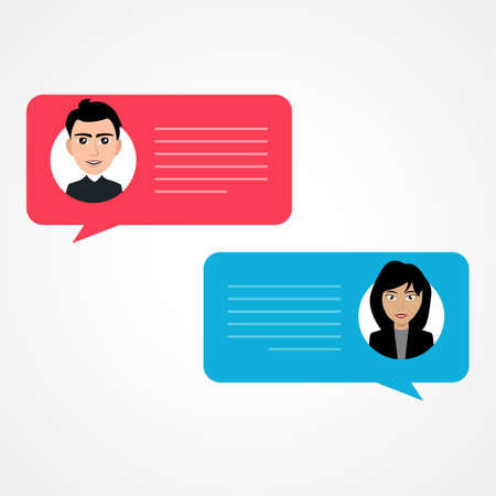 Man chatting with woman. Vector flat modern style cartoon character illustration