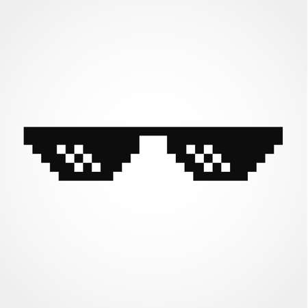 Pixel Art Glasses of Thug Life Meme Иллюстрация