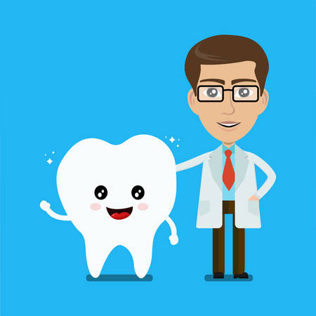 Dental care illustration. Dentist standing with happy healthy tooth.