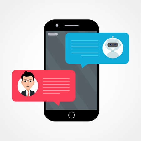 Man person chatting on cellphone with chat bot . Illustration