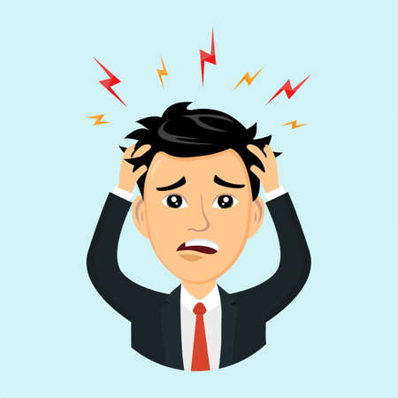 Vector flat illustration icon man with a headache