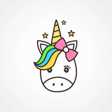 Cute unicorn face illustration.