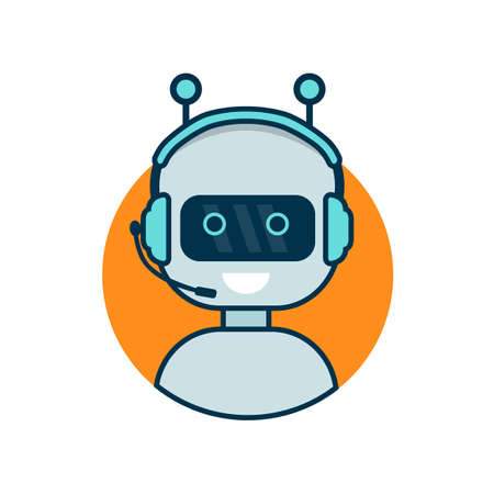 Chatbot icon. Cute robot working behind laptop. Modern bot sign design. Smiling customer service robot. Flat line style vector illustration isolated on white background Reklamní fotografie - 96668201