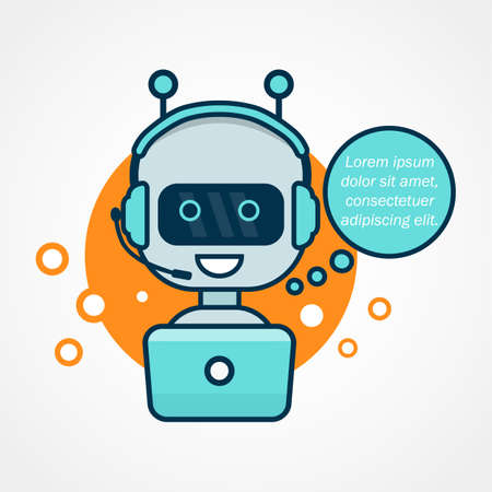 Chatbot icon. Cute robot working behind laptop. Modern bot sign design.