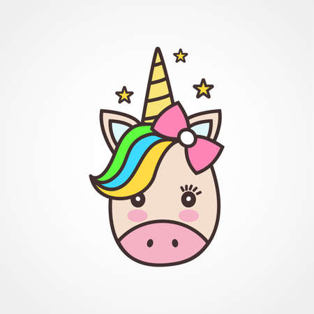 Cute unicorn face.Vector cartoon character illustration.Sign for child card,t-shirt.Girls,kid.magic concept.Isolated on white background.Cute unicorn horse and beauty rainbow hair Illustration