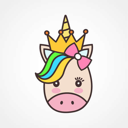 Cute unicorn face.Vector cartoon character illustration.Sign for child card,t-shirt.Girls,kid.magic concept.Isolated on white background.Cute unicorn horse with gold horn and beauty rainbow hair
