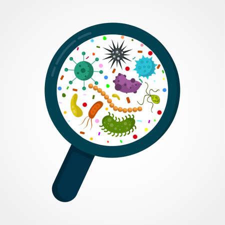 Microorganismo bacteriano en un círculo. Ilustración de vector