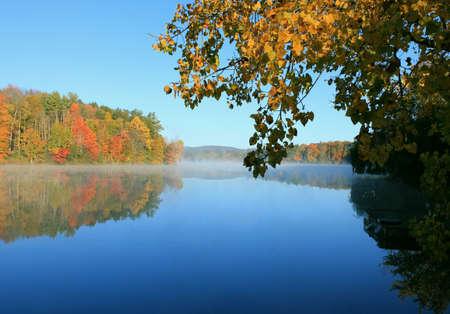 reflection: Fall foliage reflection on lake