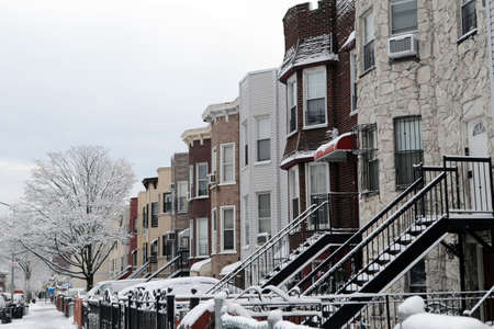 jewish community: Snow covered Brooklyn houses