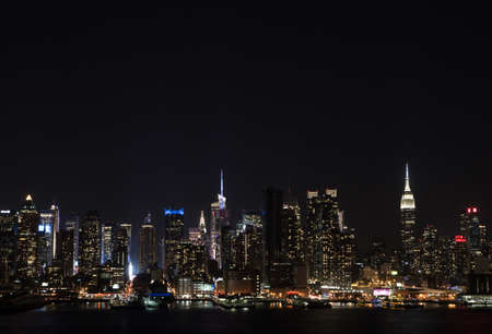 weehawken: Manhattan Skyline over Hudson River at night. Photographed in Weehawken, NJ in November 2015.