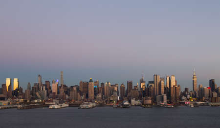 weehawken: Manhattan Skyline over Hudson River just before sunset. Photographed in Weehawken, NJ in November 2015.