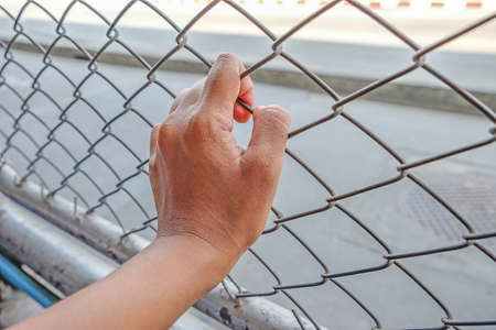 imprisonment: Hands with steel mesh fence, Hand In Jail, concept of life imprisonment