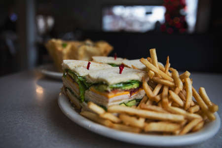 Club Sandwich with Shoestring Fries