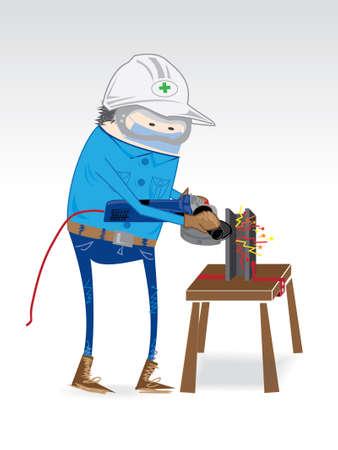 grind: Dress for work grinding steel industry. Illustration