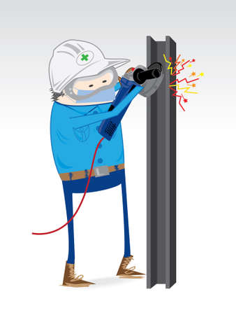 high angle view: Dress for work grinding steel industry. Illustration
