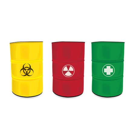 a danger: colorfu barrel with a radioactive warning label