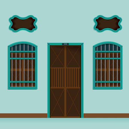 Old building Chino Portuguese style, Entry to home Illustration