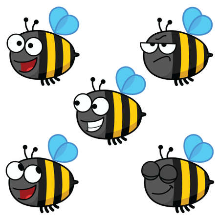 Color cartoon illustration of a set of bees in various moods