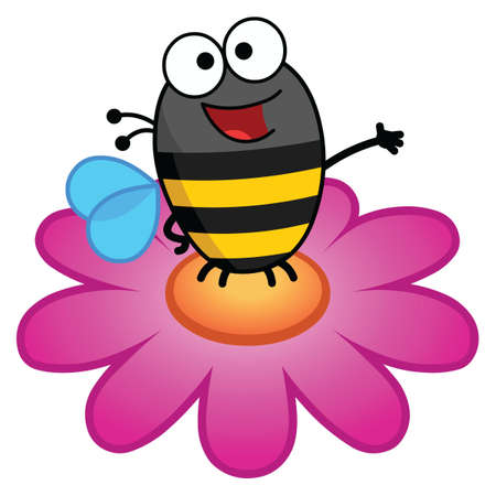 Color cartoon illustration of a bee atop a large pink colored flower