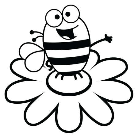 atop: Black and white cartoon illustration of a bee atop a large flower