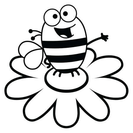 Black and white cartoon illustration of a bee atop a large flower black and white cartoon illustration of a bee atop a large flower stock vector 18680821 mightylinksfo