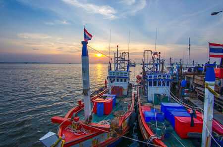 shrimp boat: Fishing Boat At Sunrise