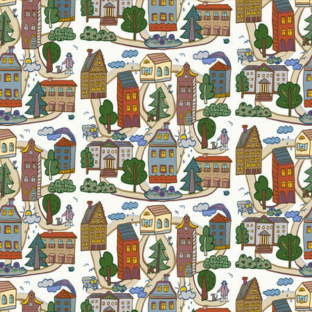 houses: City houses pattern.