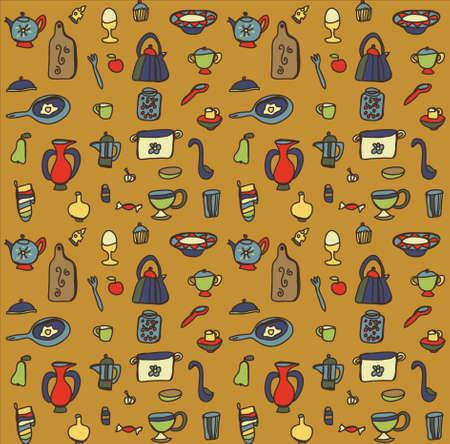 egg cups: Kitchen pattern Illustration
