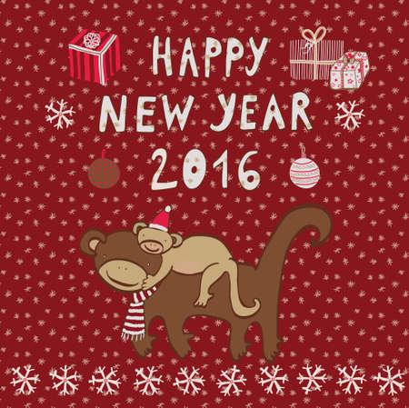 Happy New Year Monkey 向量圖像