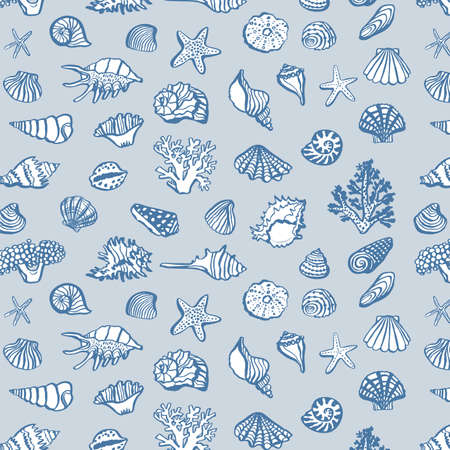 shell undersea world outline vector hand drawing pattern