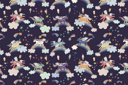 wonderland unicorn stars ice cream vector pattern 向量圖像