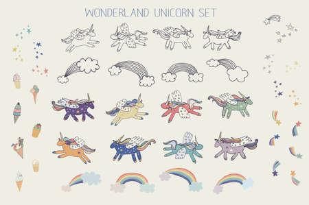 wonderland unicorn stars ice cream vector set